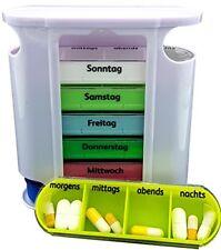 Pillendose 7 Tage Pillenbox Pillenturm Tablettenbox Medikamentenbox Spender bunt