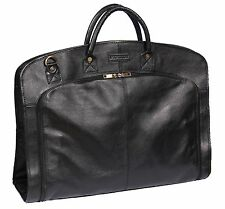 BLACK Real Leather Suit Carrier Dress Garment Cover Soft Travel Cabin Bag HANZ