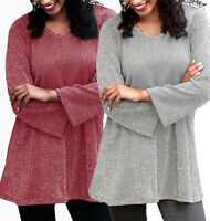 Ladies Sparkly Silver/Red Long V Neck Jumper/Tunic in UK Plus Sizes 12-26