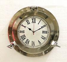 """15"""" Antique Marine Brass Ship Porthole Clock Nautical Wall Clock Home Decor"""