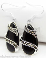 """Smooth Black Agate Onyx & Marcasite 925 STERLING SILVER EARRINGS 1 1/2"""" JEWELRY"""
