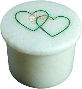 "2""x2"" Marble White Ring Trinket Box Heart Shape Malachite Stone Columbus Gifts"