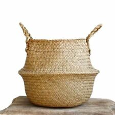 Woven Seagrass Basket, Woven Seagrass Tote Belly Basket for Storage, Laundry, CQ