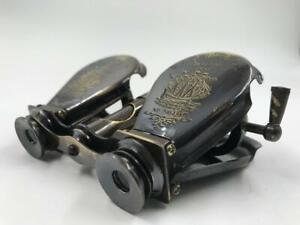 Antique Solid Brass Binocular Folding Monocle Telescope Spyglass Vintage Gift