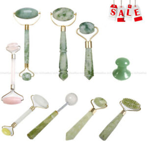 Natural Jade Guasha Facial Beauty Massage Tool Jade Roller Face Thin Massager