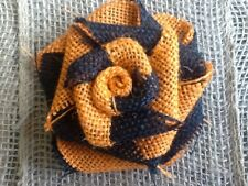 Burlap Flower SWIRLED Black and Orange Halloween Rustic Table Wreath Decor Door