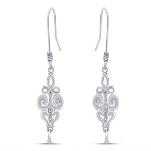 Elegant Vintage Swirls Drop 14K White Gold Over Dangle Earrings