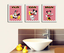 Minnie and Mickey Mouse Wash Brush Flush Prints for Bathroom Wall Art 8 x 10