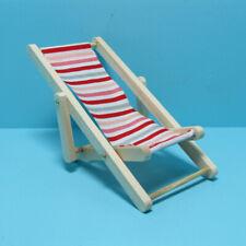 Dollhouse Miniature Beach Wood Folding Chair Red Striped Fabric Im65339