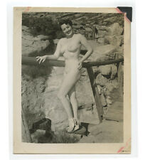 VINTAGE PIN UP PHOTO BUSTY NUDE WOMAN OUTDOORS SMILING ADULT ONLY ITEM