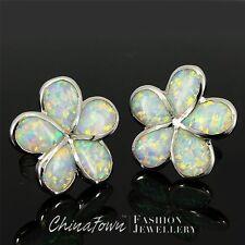 Plumeria White Fire Opal Inlay Silver Jewelry Stud Pierced Earrings