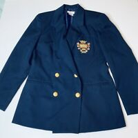 Talbots Blazer Embroidered Crest Navy Blue Jacket Sz 6 Double Breasted Wool Vtg