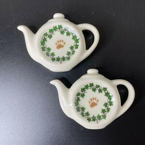 (2) 2004 Boyd's Paul Cardew Teapot Paw Print Ivy Ceramic Tea Bag Rest