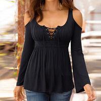 grande taille femmes en vrac haut t-shirt à manches longues à lacets décontracté