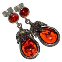 6g Authentic Baltic Amber 925 Sterling Silver Earrings Jewelry N-A8269B