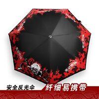 Kaneki Ken Black Folding Umbrella Pencil Sunshade Noctilucent Anime Tokyo Ghoul