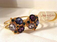 Monna Luna Purple Crystal & Gold Tone Bracelet, Handmade In Italy, New W/Tag