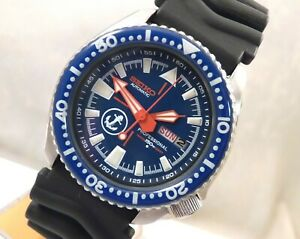 Seiko Blue Ceramic Anchor Submariner Divers Day Date Automatic Watch Custom 6309
