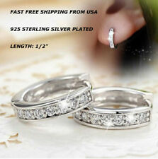 f5d6e499e New Women Fashion Jewelry 925 Sterling Silver Plated Small Stud Hoop  Earrings