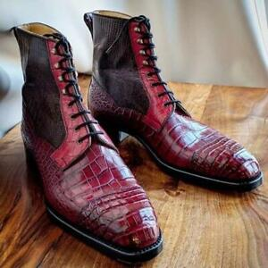 Handmade Men Burgundy Crocodile Textured Leather High Ankle Boots, Men Boots