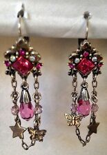 New Authentic Agatha Paris Dangle Chandelier Earrings Pink Crystals Silver Tone