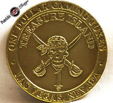 $1 BRASS SLOT TOKEN COIN TREASURE ISLAND CASINO 1993 GDC MINT LAS VEGAS PIRATE