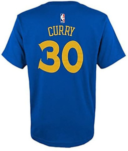 NBA Offical Youth Curry Warriors Name/#30 Cotton T-Shirt Royal Youth XL 18/20