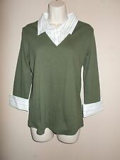 NWT Fashion Bug Women Size L Avocado Green Knit Top with Atttached Stripe Blouse