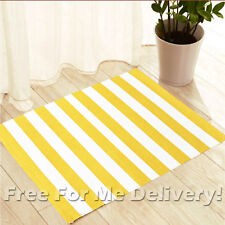 SALSA THIN YELLOW WHITE STRIPES DESIGN FLOOR RUG MAT 60x90cm **FREE DELIVERY**
