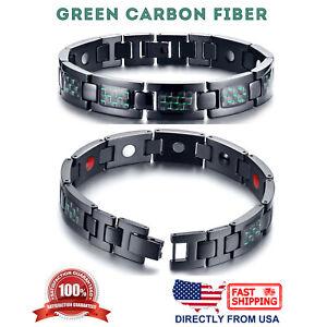 Men's Titanium Carbon Fiber & 4 Elements Magnetic Therapy Energy Link Bracelet