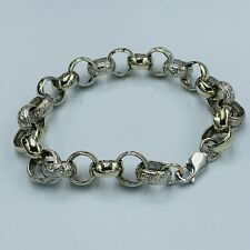Solid 9ct 375 White Gold Engraved & Plain Link 10mm Belcher Bracelet L129/30