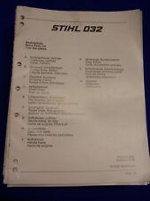 ORIGINAL liste pièces détachées 06/1986 stihl 032 - rareté