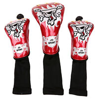 3pcs Golf Wood Headcover Skull Head Cover for Driver Wood Fairway Wood 4color