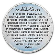 1 oz Silver Colorized Round - APMEX (Ten Commandments Sky Blue) - SKU #118069