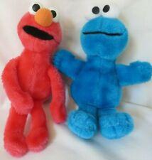 "Cookie Monster Elmo Lot Sesame Street Plush Stuffed Animal Rattle Clean 9"""