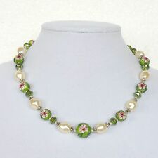 Vintage Necklace Womens Cloisonne Enamel Bead Flower Simulated Pearl Silver Tone
