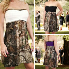 Short Camo Bridesmaid Wedding Dresses Camouflage Mossy Oak White/Black Custom