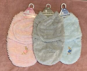 Personalised Embroidered Baby Swaddle Bag/Wrap. Peter Rabbit & Flopsy