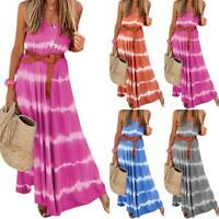 Plus Size Womens Boho V Neck Sleeveless Long Maxi Dress Casual Baggy Sundress