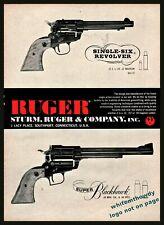 1961 Ruger Single-Six & Blackhawk Revolver Ad Vintage Gun Advertising*