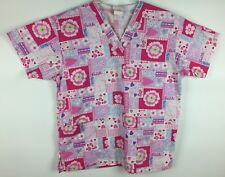 Peaches Scrub Top Size XS Pink Ribbon Breast Cancer Hearts Nursing Medical