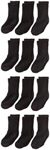 12 Pack Hanes Big Boys Classics Crew Socks Black Shoe Size 3-9 Large