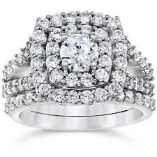 2 Carat Diamond Cushion Halo Engagement Wedding Ring Set White Gold