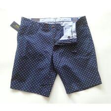POLO Ralph Lauren Shorts Men Size 35 Navy Blue Polka Dots Stretch Slim Fit