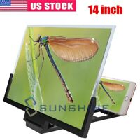14 Inch Phone Screen Magnifier 3D Video Cell Phone Amplifier Stand Bracket  USA