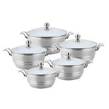 Metaliic Colours Cooking Pot Set/ White Ceramic Coated Inside/Casserole Set,