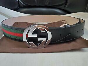 "NWT Authentic Gucci Web Belt Black Green Red Stripes GG 90cm 30""-32"" Waist"