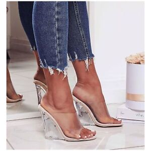 New Transparent Clear Nude Open Toe Lucite Wedge Heel Slide Mules Sandal Shoe