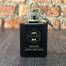 Personalised 1oz Hip Flask Black Key Ring Gifts For Birthday Him Moustache EST