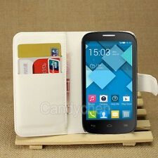 PU Leather Stand Flip Case Cover +LCD Film For Alcatel One Touch POP C1 C3 C5 C7